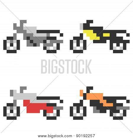 illustration pixel art icon motorcycle