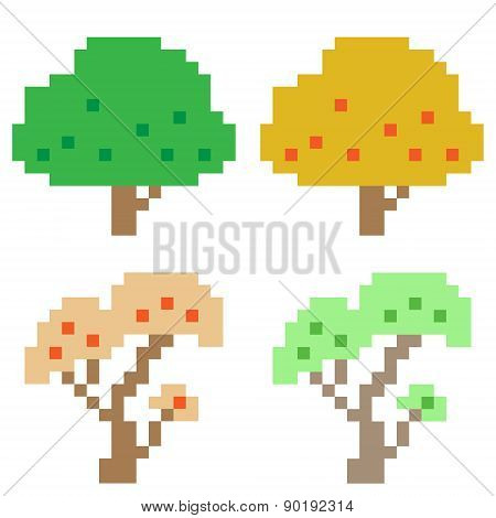 illustration pixel art icon tree