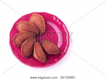 Traditional French Pastry (cookie) Madeleine Isolated On White Background. Selective Focus.