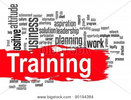 Training Word Cloud With Red Banner