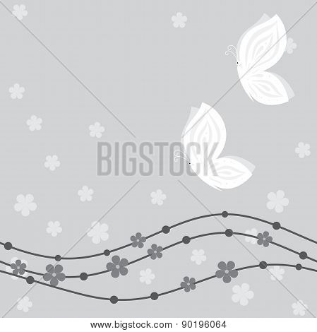 Floral card with butterflies in grey hues