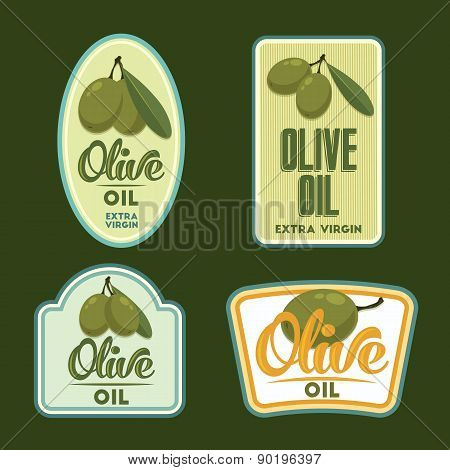 Set Of Vector Olive Oil Badges.