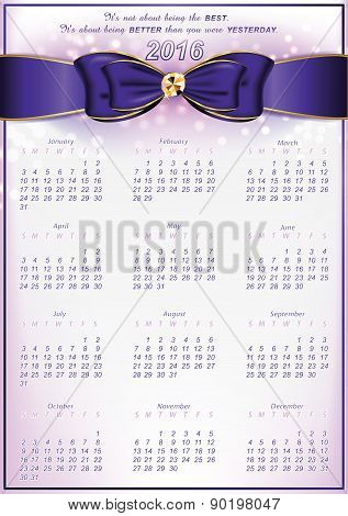 Elegant calendar for 2016 with inspirational message