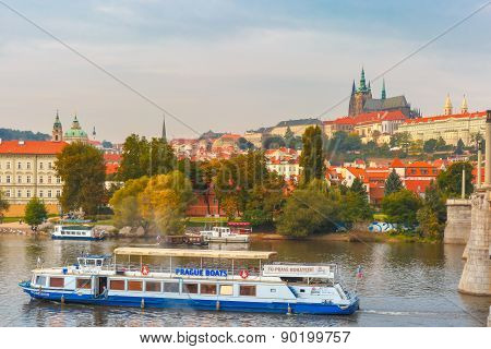 Tourist boat in Prague, Czech Republic