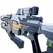 foto of pov  - Scientific fiction model of an assault rifle POV - JPG