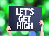 image of bong  - Lets Get High card with green bokeh background - JPG