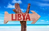 picture of libya  - Libya wooden sign with ocean background - JPG