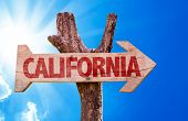 stock photo of bayou  - California wooden sign with sky background - JPG