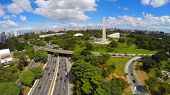 picture of obelisk  - Aerial View of Obelisk and Ibirapuera Park of Sao Paulo city - JPG