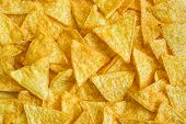 stock photo of nachos  - Background of Corn Tortilla Chips or Nachos - JPG