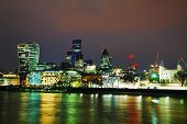 pic of london night  - Financial district of the City of London in the night - JPG