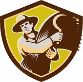 picture of scythe  - Illustration of a farmer farm worker holding scythe and wheat harvest facing front set inside shield crest on isolated background done in retro style - JPG