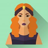 image of headband  - Green flat style square shaped female character icon with shadow - JPG