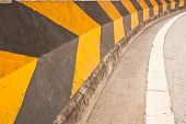 stock photo of traffic signal  - The Warning Signs And Turn Right On The Road - JPG