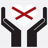 stock photo of alabama  - Hand showing Alabama flag in a heart shape - JPG