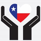 picture of texas state flag  - Hand showing Texas flag in a heart shape - JPG