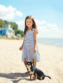stock photo of little puppy  - Little smiling girl walking with dog on the beach in sunny summer day near sea child with puppy outdoors - JPG