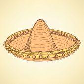 image of sombrero  - Sketch mexican sombrero in vintage style vector - JPG