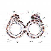 pic of binoculars  - A large group of people in the shape of binoculars - JPG