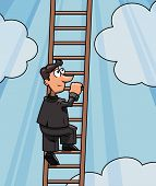 picture of climb up  - Illustration of the businessman climbing up to success by ladder - JPG