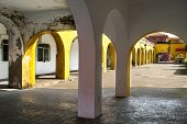 stock photo of arcade  - Detail of porches and arcades in the Santander fishing neighborhood  - JPG
