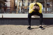 stock photo of breath taking  - Tired man after cardio workout - JPG