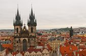 image of old lady  - The landmark twin spires of the Church of Our Lady before Tyn in Prague - JPG