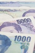 picture of japanese coin  - Stack of japanese currency yen or Japanese banknotes - JPG