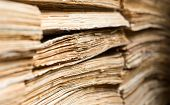 picture of manila paper  - Stack of the old paper documents in the archive - JPG