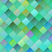 stock photo of rhombus  - Colorful geometric background with rhombus on blurred gradient background for web design in green colors - JPG