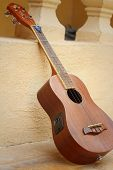 picture of ukulele  - Ukulele brown leaning a wall at the park - JPG