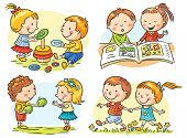 pic of common  - Set of four cartoon illustrations with kids - JPG
