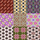 pic of kaleidoscope  - Set of kaleidoscopic seamless generated textures or backgrounds - JPG