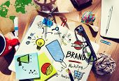 picture of messy  - Messy Office Table Workplace Marketing Brand Concept - JPG