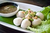image of plate fish food  - fish meat ball in plate - JPG