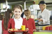 picture of school lunch  - Female Pupil With Healthy Lunch In School Cafeteria - JPG
