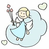 pic of cupid  - Cute cartoon happy cupid flying on cloud - JPG