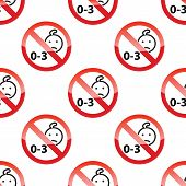stock photo of taboo  - Vector image of children age restriction repeated on white background - JPG