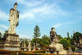 foto of hindu  - Ancient Buddha hindu statue at Sala Kaew Ku Nongkhai Thailand - JPG