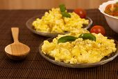 stock photo of scrambled eggs  - scrambled eggs with bread and vegetables  - JPG