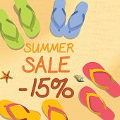 foto of starfish  - Summer discount of 15 percent on the sand with starfish and colorful summer slippers - JPG