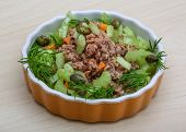 stock photo of celery  - Tuna and celery salad with dill and capers - JPG