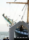 picture of mast  - mast sailing ship on the background of the bell  - JPG
