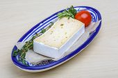 image of brie cheese  - Soft brie cheese with rosemary thyme and toast bread - JPG