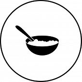 pic of cereal bowl  - cereal bowl with spoon symbol - JPG