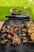 image of braai  - Teriyaki chicken wings with garlic bread and herbs - JPG