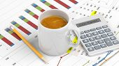 picture of calculator  - Cup of coffee with office paperwork - JPG