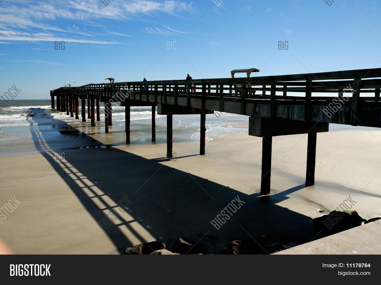 Fishing pier st augustine beach image photo bigstock for St augustine fishing pier