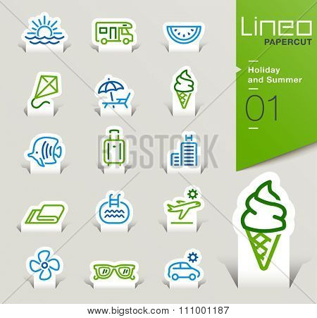Lineo Papercut - Holiday and Summer outline icons
