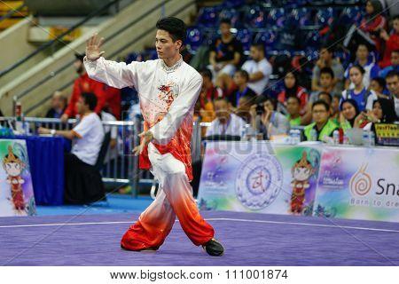 JAKARTA, INDONESIA - NOVEMBER 15, 2015: Zhou Li Chen of China performs the movements in the men's Taijiquan event at the 13th World Wushu Championship 2015 held in Istora Senayan, Jakarta.